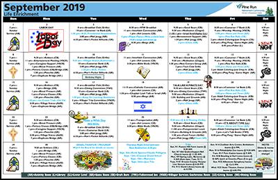 September 2019 Pine Run Village Life Enrichment Calendar