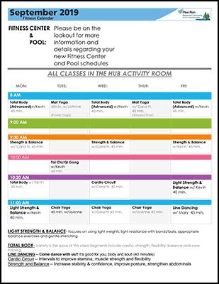 September 2019 Fitness Calendar