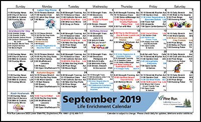 September 2019 Lakeview Life Enrichment Calendar