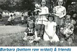 Barbara (bottom row w/doll) & friends